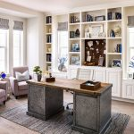 Bfg Rugged Terrain with Transitional Home Office and  Built in Bookcase  Roman Shades  Woven Rug     Wood Desktop  Large Windows