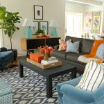 Big Lots Rugs with Contemporary Living Room and  Blue Ottoman  Ethnic Prints  Blue Armchair  Dark Gray Sofa  Dark Blue Armchair
