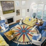 Big Lots Rugs with Contemporary Living Room and  Built in Shelves  Nautical  Wingback Chair  Sconce  Compass Rose