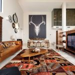 Big Lots Rugs with Contemporary Living Room and  Vaulted Ceiling  Gray Floor  Antler Art  Stairs  Area Rug