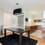 Black Shag Rug with Contemporary Dining Room and  Black Shag Rug  Modern  Glass Block  Eat in Kitchen  Decoration