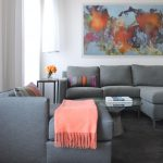 Blue Area Rugs with Contemporary Living Room and  Abstract Art  Accent Pillows  Chaise  Tolomeo Lamp  World Map