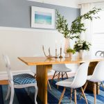 Blue Area Rugs with Transitional Dining Room and  Transitional Style  Mixed Dining Chairs  Chair Rail  Light Wood Dining Table  Wainscoting