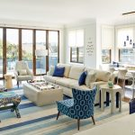 Blue Area Rugs with Transitional Family Room and  Blue Pendant Light  Blue White Living Room  Patterned Blue Area Rug  Blue Striped Area Rug  Simple