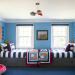 Blue Area Rugs with Transitional Kids and  Little Boys Room  Navy Blue Rug  Boys Navy Blue Room  Striped Bedding  Platform Bed