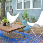 Cheap Rugs Online with Eclectic Patio and  Raised Beds  Bright Blue Rug  Brick  Retro  Sling