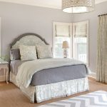 Chevron Area Rug with Beach Style Bedroom and  Patterned Curtains  Beach Cottage  Lavender Walls  White Side Table     Beach Home