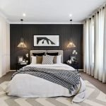 Chevron Area Rug with Contemporary Bedroom and  Large Bathroom  Haning Pendant Lights  Chevron Area Rug  Double Vanity  Cushioned Headboard