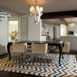 Chevron Area Rug with Contemporary Dining Room and  Wood Beams     Stainless Steel  White Cabinets  Great Room  Area Rug