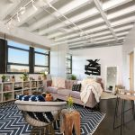 Chevron Area Rug with Eclectic Family Room and  Eames Chair  Open Shelves  Stained Concrete Floor  Black White Pattern Rug  Moroccan Wedding Blanket