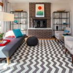 Chevron Area Rug with Midcentury Living Room and  Midcentury Modern  Window     Fireplace Mantels  Ottoman  Gas Fireplaces