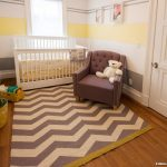 Claire Murray Rugs with Contemporary Nursery and  Chevron Rug  Nursery  Tufted Upholstery  Striped Walls  Toy Storage