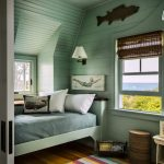 Colorful Area Rugs with Beach Style Bedroom and  Striped Rug  Kids Bedroom  Light Hardwood Floors  Coastal Home Painting  Dormer Window