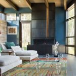 Colorful Area Rugs with Contemporary Living Room and  Vail  Beaver Creek  Exposed Wood Beams  Strip Fireplace  Stone Accent Wall