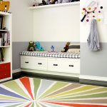 Colorful Area Rugs with Transitional Kids and  Built in Bench  Toy Storage     Floating Shelf  Storage Drawers  Colorful Area Rug