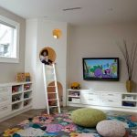 Colorful Area Rugs with Transitional Kids and  Colorful Area Rug  Built in Cabinets  Hiding Space  Knit Pouf  Ladder