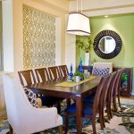 Cost Plus Rugs with Contemporary Dining Room and  Apple Green  Amy Butler Rug  Trellis Wallpaper  Coventry Rug  Light Green Ceiling