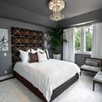 Cost Plus Rugs with Transitional Bedroom and  Bedding  Brown  Brown Patterned Headboard  White Curtain  Brown Bed