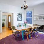 Custom Area Rugs with Eclectic Dining Room and  Wood and Steel Table     Formal Dining Room  Mis Matched Chairs  Purple Area Rug  Deep Purple Area Rug