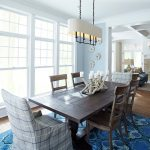 Dining Room Rugs with Beach Style Dining Room and  Vintage     Seaside  Lake House  Double Hung Windows  Patterned Rug
