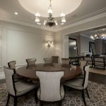Dining Room Rugs with Contemporary Dining Room and  Dark Wood Dining Table  White Wood  Sconce  Chandelier  Neutral Colors