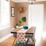 Dining Room Rugs with Eclectic Dining Room and  White Door  Wood Table     Blinds  White Ceiling  Plastic Side Chair