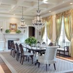 Dining Room Rugs with Traditional Dining Room and  Light Blue Dining Chair  Hardwood Floors  Crystal Chandelier  Brown Rug  Custom Home