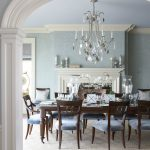 Dining Room Rugs with Traditional Dining Room and  Powder Blue  Blue Walls  Wood Molding     Crown Molding  White Fireplace Mantle