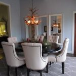 Dining Room Rugs with Traditional Dining Room and  Tufted Chair  Nailhead Trim  Blue Dining Room  Flat Weave Rug  Black Pedestal Dining Table