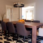 Dining Room Rugs with Transitional Dining Room and  Transitional Dining Room  Dramatic Chandelier  Grey Dining Chairs  Purple  Contemporary Dining Room