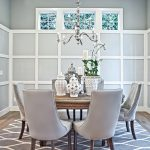 Dining Room Rugs with Victorian Dining Room and  Chrome Chandelier  Transom Windows  Wooden Round Dining Table     Gray Upholstered Dining Chairs  Grey Walls White Molding