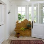 Drug Rug Hoodie with Traditional Entry and  White Window Trim  Paneling  Tan Tile Floor  Wainscoting  Entrance