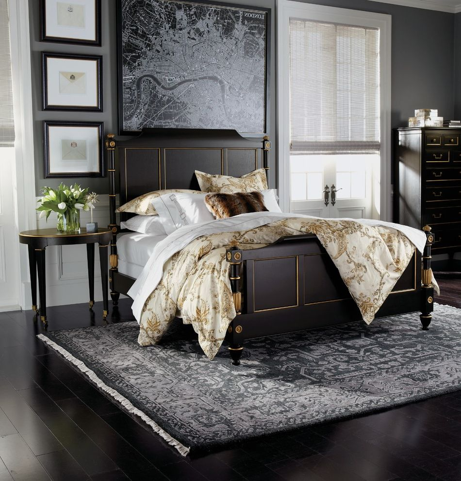Ethan Allen Rugs with Traditional Bedroom and White Wainscoting ...