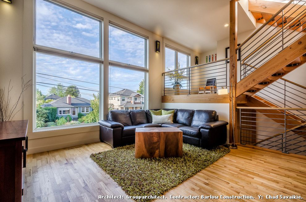 Fake Grass Rug with Contemporary Living Room and Metal Railing