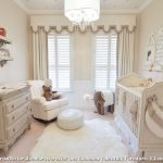 Faux Fur Rug with Transitional Nursery and  White Rocking Chair     Brown and Beige  Elephant Theme  Beige Walls  Beige Crib