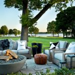 Faux Sheepskin Rug with Transitional Patio and  Fire Pit  Outdoor Furniture  Waterfront     Fire Bowl  Lakefront