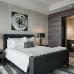 Gray and White Rug with Contemporary Bedroom and  Dandelion  Pocket Bathroom Doors  Upholstered Headboard  White Throw  Bedroom