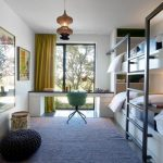Gray and White Rug with Contemporary Kids and  Beautiful Bunk Beds  Yellow Curtains     Natural Light  White Bedding  Lots of Light