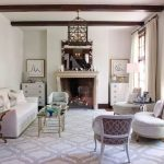 Gray and White Rug with Contemporary Living Room and  Art Deco  Beam  Quarerfoil Rug  Mantel  French Doors