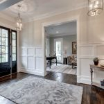 Gray and White Rug with Farmhouse Entry and  Entry Rug  White Grey Rug  Grey and White Rug  10 Ft Ceiling  High Ceilings