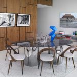 Gray Area Rugs with Contemporary Dining Room and  Wood Dining Chair  White Floor Tile  Glass  Grey Area Rug  Gray Cowhide Rug