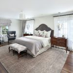 Gray Area Rugs with Traditional Bedroom and  Tufted Grey Chair  Upholstered Headboard  Grey Area Rug  Grey Ottoman  Grey Round Back Chairs