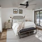 Gray Area Rugs with Transitional Bedroom and  Wooden Floors     White Shiplap Ceiling  Shiplap  Shiplap in Bedroom  Grey Area Rug