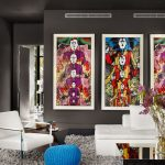Gray Shag Rug with Contemporary Living Room and  Poof  Colorful Pop Art  Renovation  Table  Modern