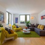 Green Shag Rug with Contemporary Living Room and  Indoor Plants  Interior Photography  Green Shag Rug  Architectural Photography  Colorful Living Room