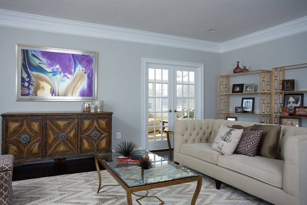 Grey Chevron Rug With Transitional Living Room And Chevron Area Rug Metal Book Shelves Crown