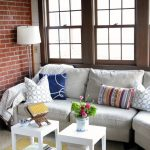 Home Decorators Rugs with Eclectic Living Room and  Double Hung Windows  Floor Lamp  Brick  Throw  Accent Tables
