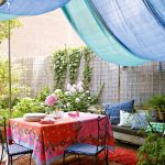 Home Depot Outdoor Rugs with Shabby Chic Style Patio and  Outdoor Dining  Bench  Blue Canopy  Colorful  Blue Chair Cushions