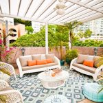Home Depot Outdoor Rugs with Tropical Patio and  Glass Topped Coffee Table  Light Blue  Flat Weave  Woven Outdoor Furniture     Garden Wall