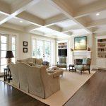 Home Goods Area Rugs with Traditional Living Room and  Built in Shelves  Dark Floor  Eat in Kitchen  Area Rug  Coffered Ceiling